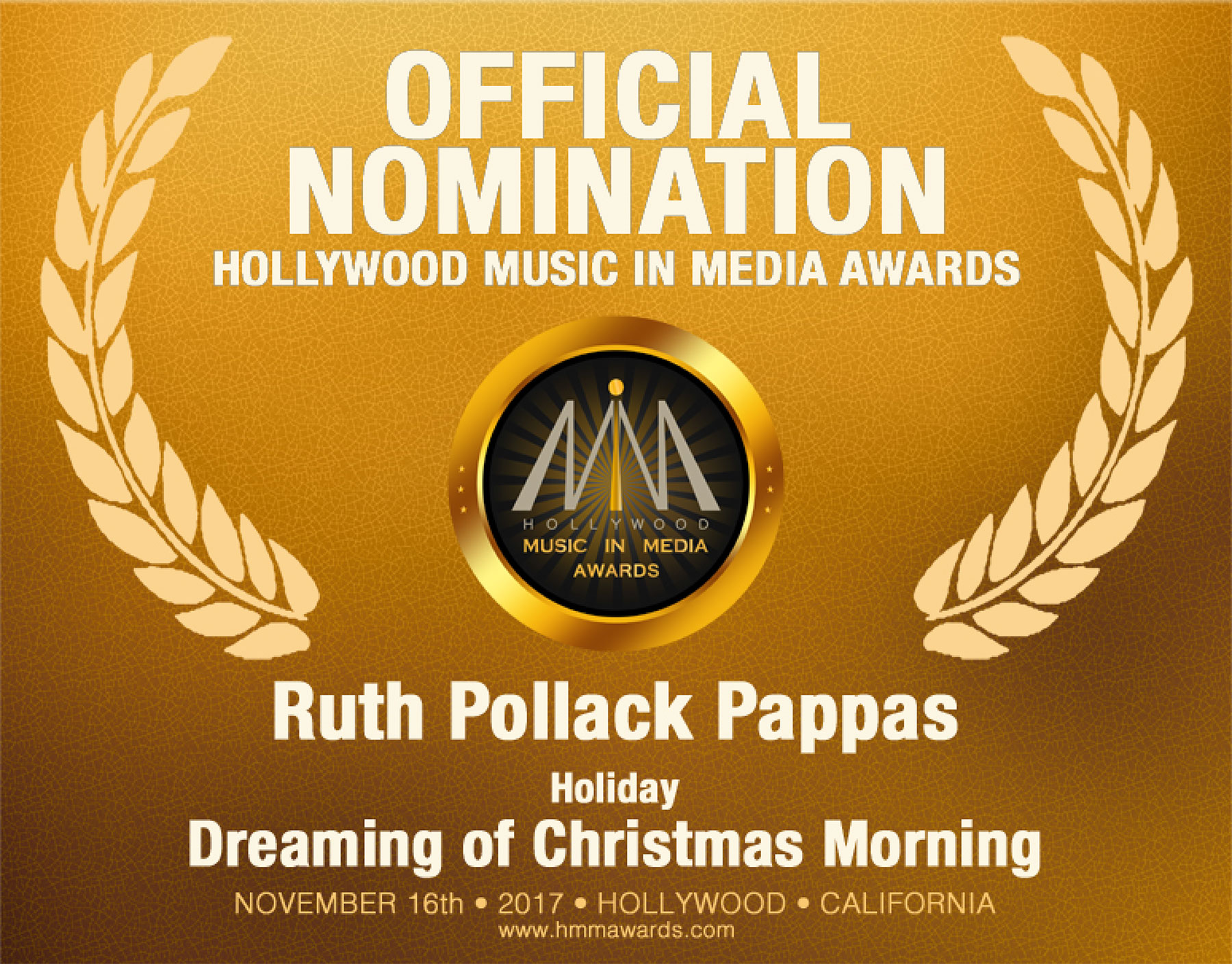 Ruth Pollack Pappas Holiday Song 2017 HMMA Nomination