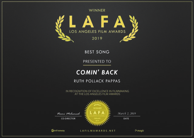 Ruth Pollack Pappas, Best Song-Comin' Back-LA FIlm Awards